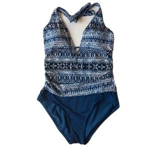 Jantzen Swimsuit Blue & White One Piece size 10